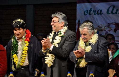 Evo Morales, Fernando Lugo e Pepe Mujica nella chiusura del FSA in Paraguay 2010