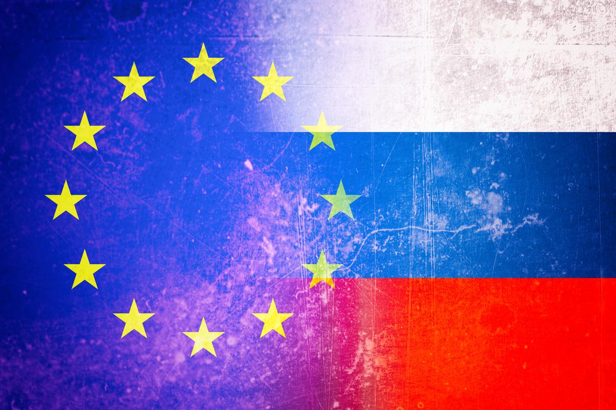 EU and Russia flag